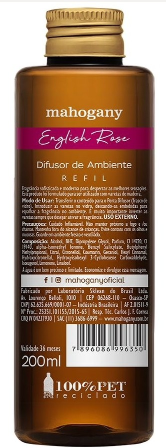 REFIL DIFUSOR AMBIENTE ENGLISH ROSE 200ML